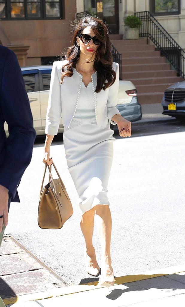 Amal Clooney, white zac posen sheath dress, nude jimmy choo imogen heels, Amal Clooney out and about, New York, USA - 24 Apr 2019Wearing Zac Posen