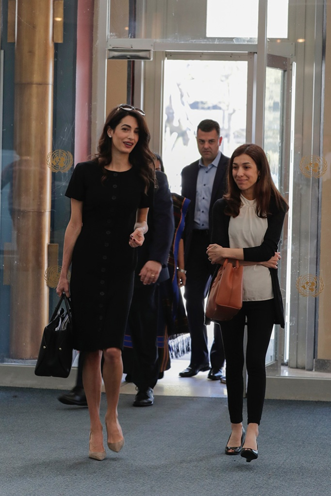 amal clooney, un, celebrity style, business chic, black dress, pumps, high heels, Editorial use onlyMandatory Credit: Photo by Europa Newswire/REX/Shutterstock (10216849a)Amal Clooney and Nadia MuradSecurity Council meeting on Women and peace and security, UN Headquarters, New York, USA - 23 Apr 2019