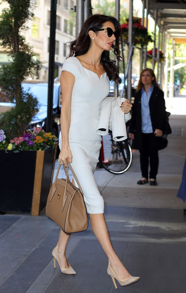 Amal Clooney, Amal Clooney out and about, New York, USA - 24 Apr 2019Wearing Zac Posen white dress, jimmy choo nude pumps
