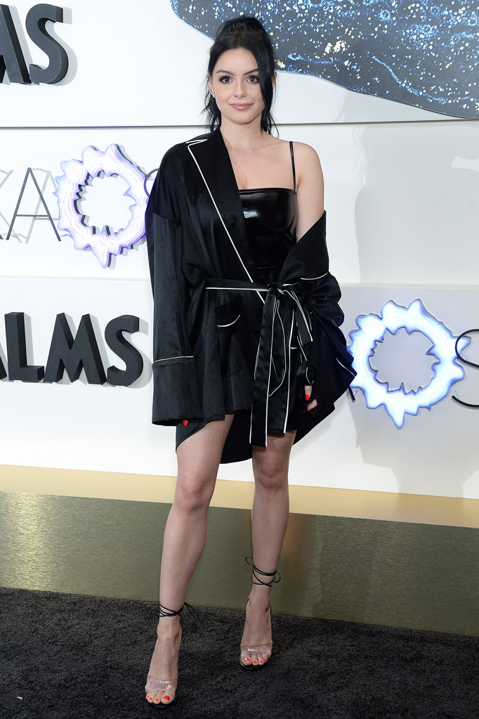 Ariel Winter, celebrity style, Las Vegas, red carpet, silk robe, shiny black minidress, lbd, strappy sandals, clear shoe trend, las vegas