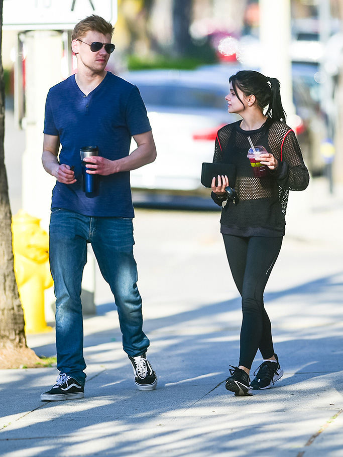 Ariel Winter, mesh top, sports bra, leggings, nike sneakers, and Levi Meaden are seen in Los Angeles, California.Pictured: Ariel WinterRef: SPL5081292 190419 NON-EXCLUSIVEPicture by: Bauer-Griffin / SplashNews.comSplash News and PicturesLos Angeles: 310-821-2666New York: 212-619-2666London: 0207 644 7656Milan: 02 4399 8577photodesk@splashnews.comWorld Rights