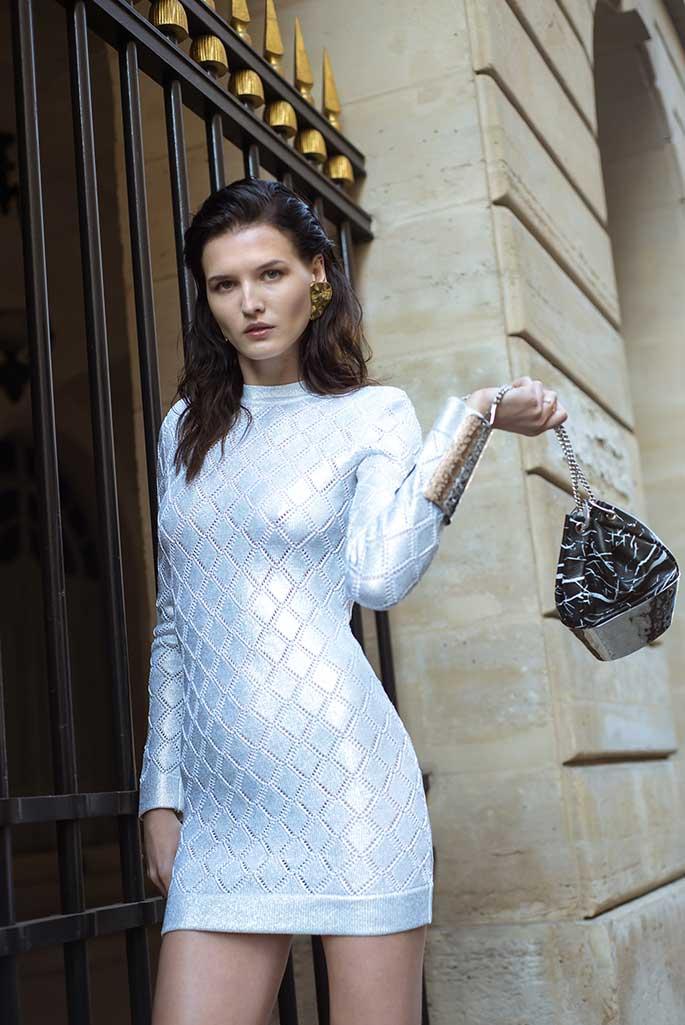 A Balmain spring '19 dress available to rent at Armarium's Le Bon Marche pop-up.