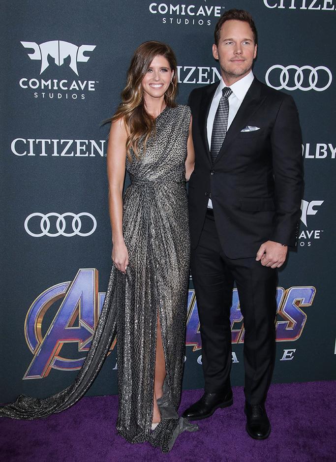 Katherine Schwarzenegger and Chris Pratt'Avengers: Endgame' Film Premiere, Arrivals, LA Convention Center, Los Angeles, USA - 22 Apr 2019, monique lhullier dress, engaged couple, celebrity style, fiancee