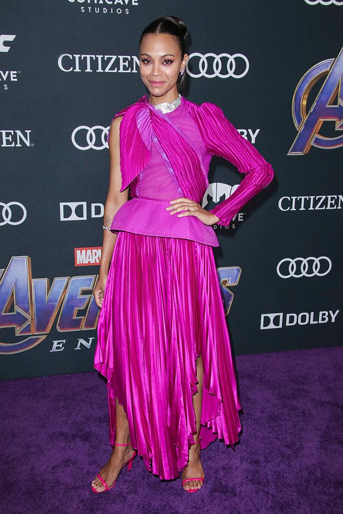Zoe Saldana'Avengers: Endgame' Film Premiere, Arrivals, LA Convention Center, Los Angeles, USA - 22 Apr 2019 Wearing Givenchy same outfit as catwalk model *10068443an
