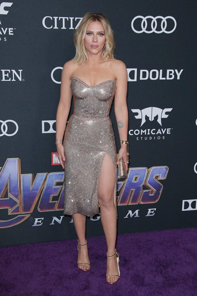 Scarlett Johansson'Avengers: Endgame' Film Premiere, Arrivals, LA Convention Center, Los Angeles, USA - 22 Apr 2019Wearing Versace, glittery dress, leggy red carpet outfit, black widow, metallic sandals