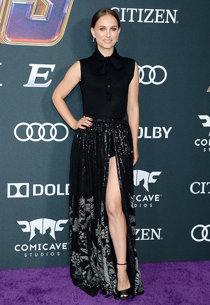 Natalie Portman, red carpet, celebrity style, legs, black ankle strap sandals, 'Avengers: Endgame' Film Premiere, Arrivals, LA Convention Center, Los Angeles, USA - 22 Apr 2019Wearing Dior same outfit as catwalk model *10119299bo