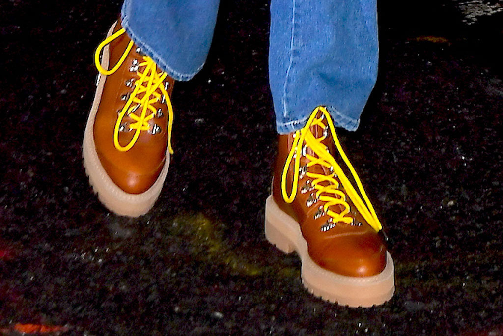 bella hadid, celebrity style, brown lace-up boots yellow laces, gigi hadid 24th birthday party nyc