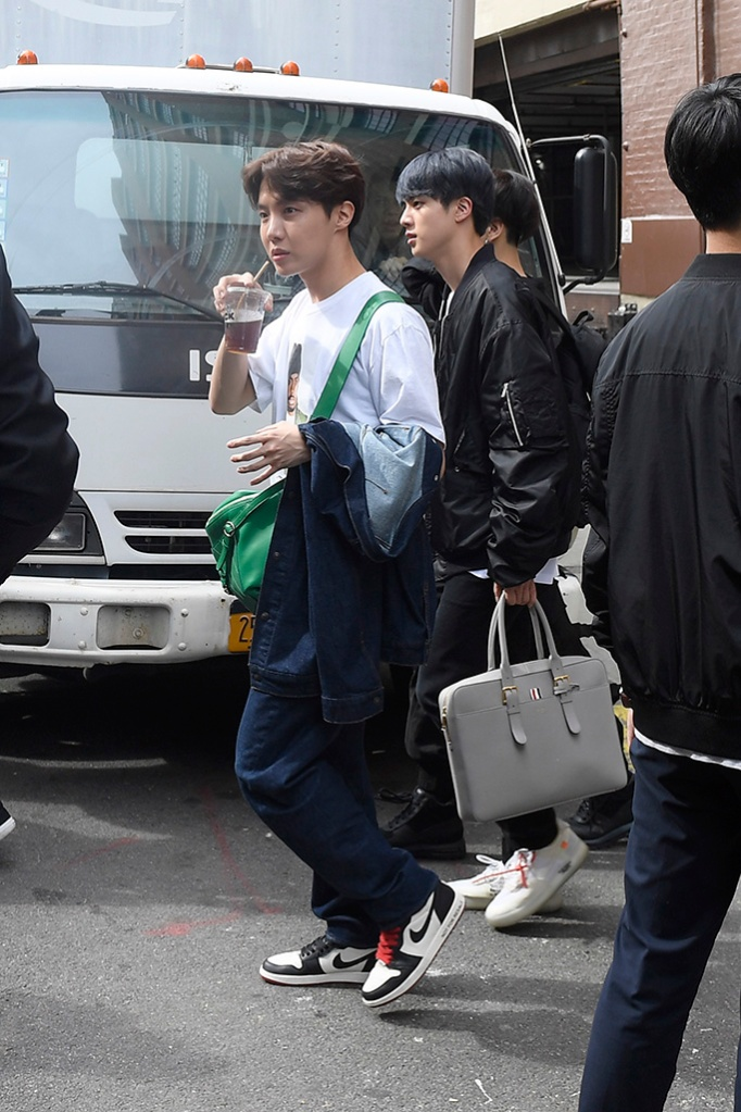 jin, j-hope, nike air jordan, BTS Band Members Jungkook, Jimin, V, Suga, Jin, RM, J-Hope taking a walk in New York City promoting their new single Map of The Soul PersonaPictured: Jungkook,Jimin,V,Suga,Jin,RM,J-HopeRef: SPL5079601 120419 NON-EXCLUSIVEPicture by: Elder Ordonez / SplashNews.comSplash News and PicturesLos Angeles: 310-821-2666New York: 212-619-2666London: 0207 644 7656Milan: 02 4399 8577photodesk@splashnews.comWorld Rights, No Portugal Rights