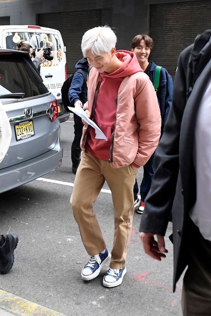 RM, canvas sneakers, hoodie, BTS Band Members arriving at tv studios this morning in New York CityPictured: RMRef: SPL5079416 120419 NON-EXCLUSIVEPicture by: Elder Ordonez / SplashNews.comSplash News and PicturesLos Angeles: 310-821-2666New York: 212-619-2666London: 0207 644 7656Milan: 02 4399 8577photodesk@splashnews.comWorld Rights, No Portugal Rights