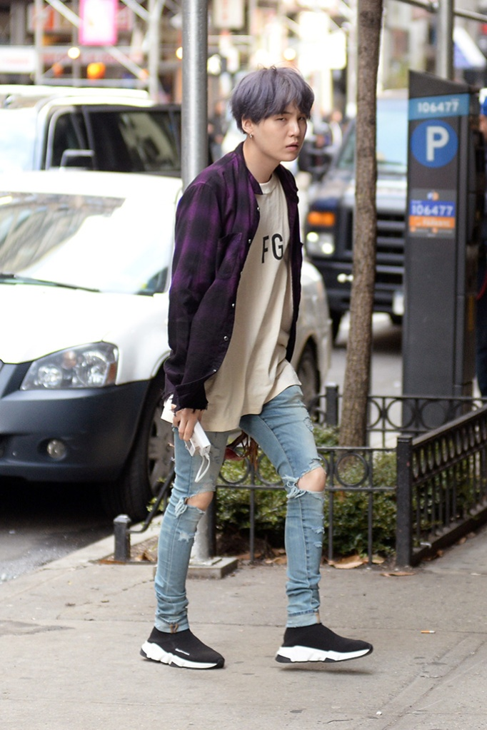 suga, balenciaga, BTS Band Members Jungkook, Jimin, V, Suga, Jin, RM, J-Hope taking a walk in New York City promoting their new single Map of The Soul PersonaPictured: Jungkook,Jimin,V,Suga,Jin,RM,J-HopeRef: SPL5079601 120419 NON-EXCLUSIVEPicture by: Elder Ordonez / SplashNews.comSplash News and PicturesLos Angeles: 310-821-2666New York: 212-619-2666London: 0207 644 7656Milan: 02 4399 8577photodesk@splashnews.comWorld Rights, No Portugal Rights