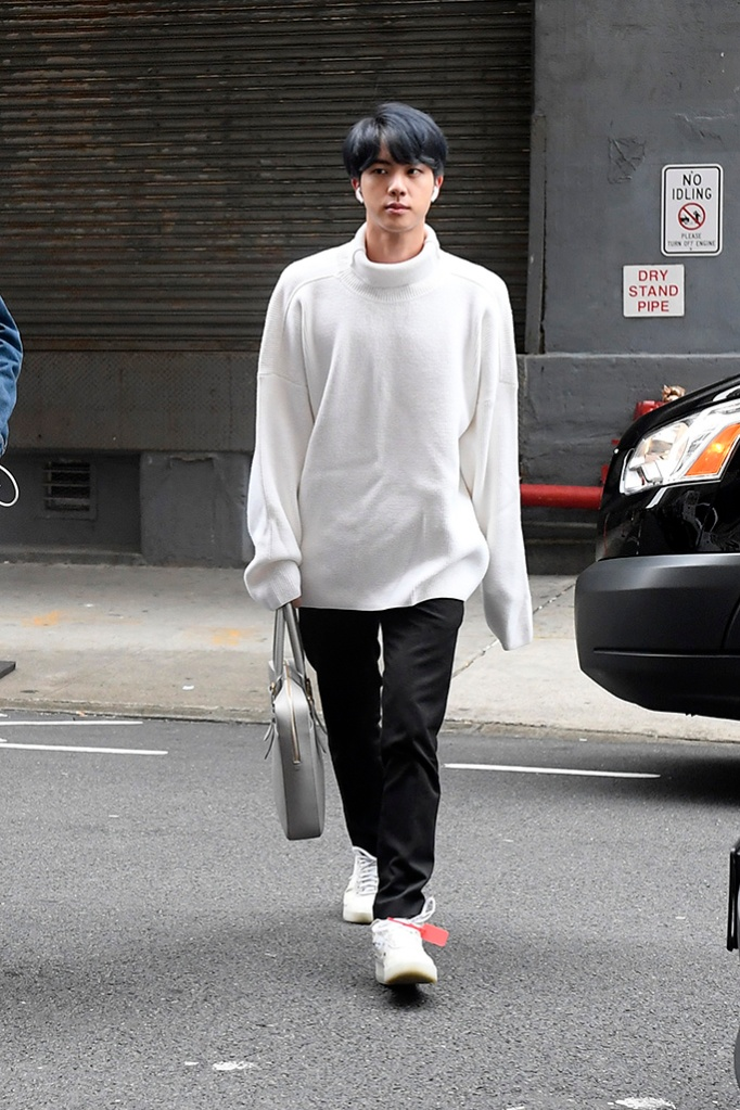 BTS Band Members arriving at tv studios this morning in New York CityPictured: Jin Ref: SPL5079416 120419 NON-EXCLUSIVE Picture by: Elder Ordonez / SplashNews.com Splash News and Pictures Los Angeles: 310-821-2666 New York: 212-619-2666 London: 0207 644 7656 Milan: 02 4399 8577 photodesk@splashnews.com World Rights, No Portugal Rights