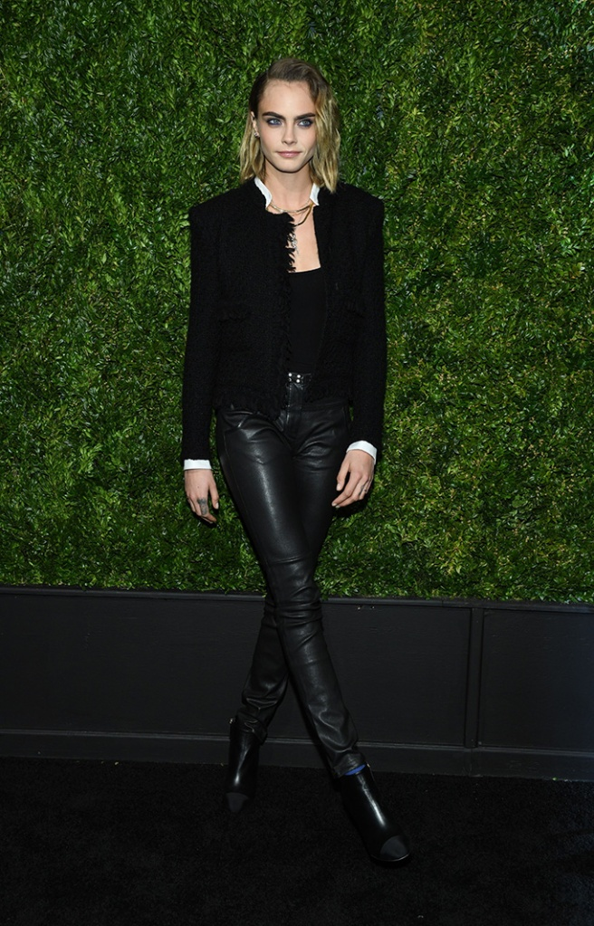 Cara Delevingne, leather leggings, legs, black leather pants, celebrity style, black booties, 14th Annual Tribeca Film Festival Artists Dinner hosted by Chanel, Arrivals, Balthazar restaurant, New York, USA - 29 Apr 2019