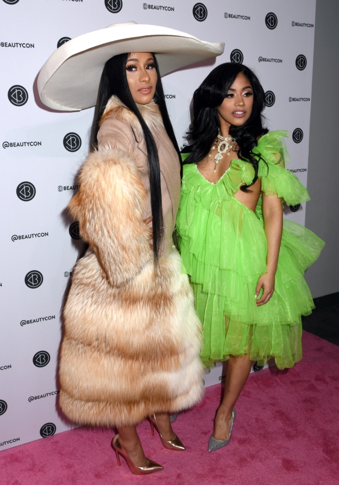 cardi b and Cardi B and her sister Hennessy Carolina attend Beautycon