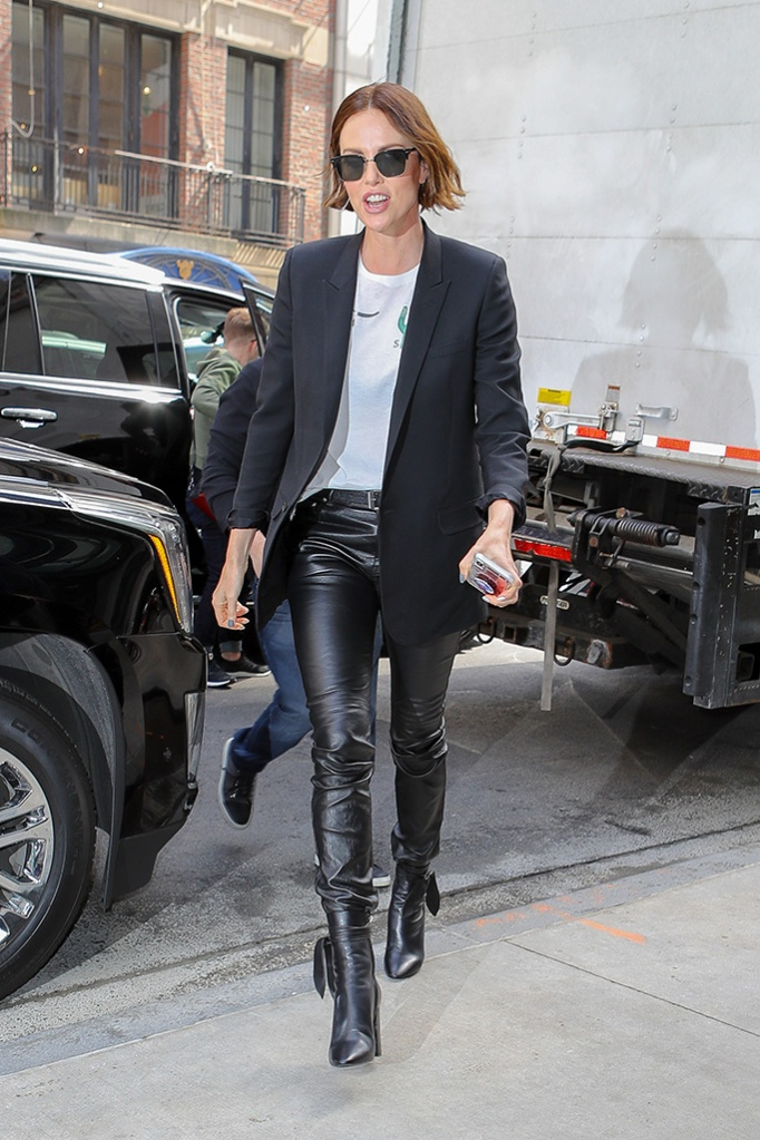 Charlize Theron, saint laurent mid-calf boots, leather pants, celebrity style, legs, seen arriving back at her hotel in New York CityPictured: Charlize TheronRef: SPL5084318 290419 NON-EXCLUSIVEPicture by: Felipe Ramales / SplashNews.comSplash News and PicturesLos Angeles: 310-821-2666New York: 212-619-2666London: 0207 644 7656Milan: 02 4399 8577photodesk@splashnews.comWorld Rights