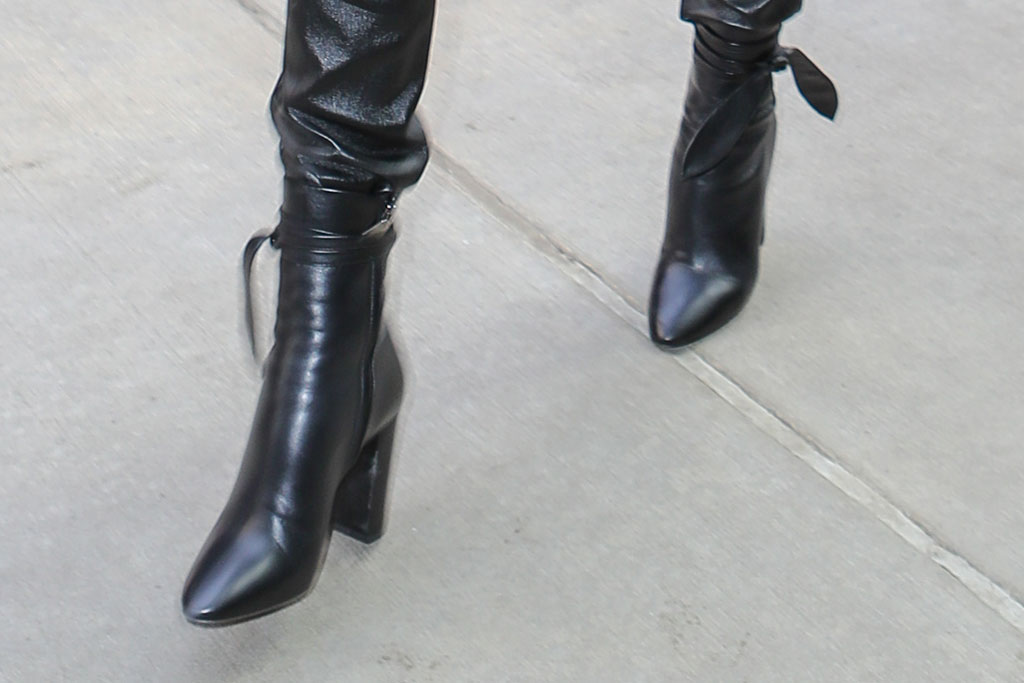 Charlize Theron, mid-calf boots, saint laurent, celebrity street style, new york