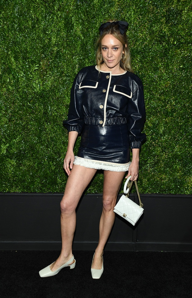 Chloe Sevigny, white slingback kitten heels, miniskirt, celebrity style, legs, leather jacket, 14th Annual Tribeca Film Festival Artists Dinner hosted by Chanel, Arrivals, Balthazar restaurant, New York, USA - 29 Apr 2019
