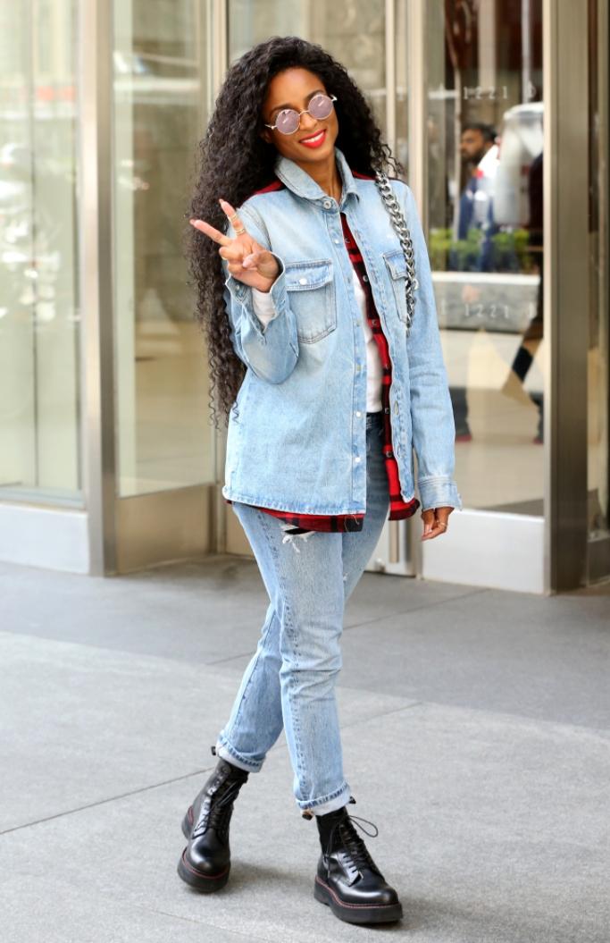 ciara, off-white denim shirt, combat boots