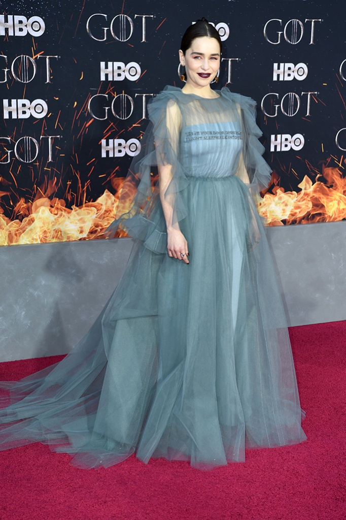 Emilia Clarke, celebrity style, 'Game of Thrones' season eight premiere, Arrivals, New York, USA - 03 Apr 2019Wearing Valentino same outfit as catwalk model *10128931bm