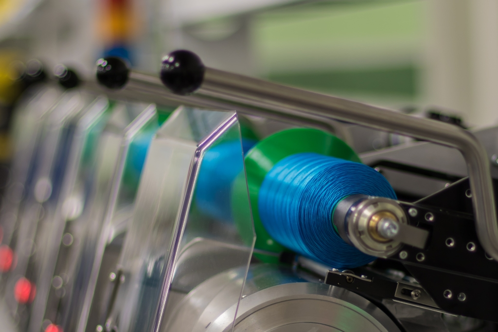 Filament on a winder during the industrial production process