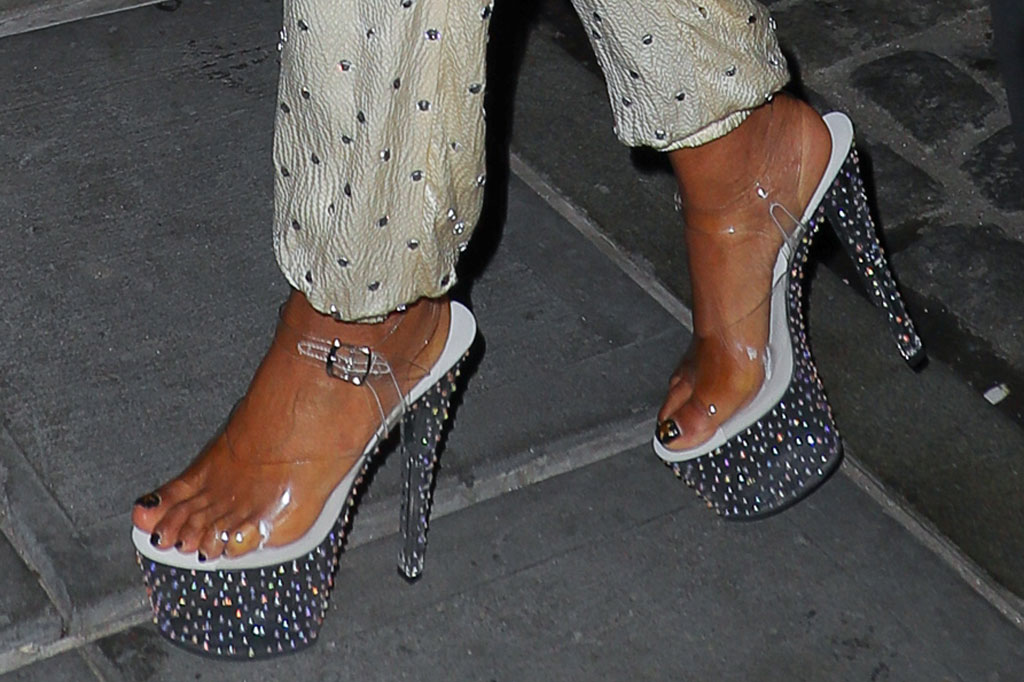 gabrielle union, sandals, see-through sandals, clear shoe trend, 70s party, dwyane wade, retirement