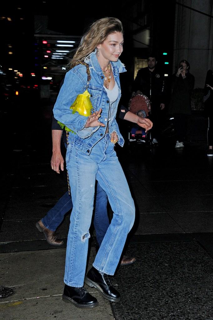 Gigi Hadid, celebrity style, 24th birthday, nyc, denim on denim, dr martens boots, arrives to her birthday partyPictured: Gigi HadidRef: SPL5081627 230419 NON-EXCLUSIVEPicture by: SplashNews.comSplash News and PicturesLos Angeles: 310-821-2666New York: 212-619-2666London: 0207 644 7656Milan: 02 4399 8577photodesk@splashnews.comWorld Rights