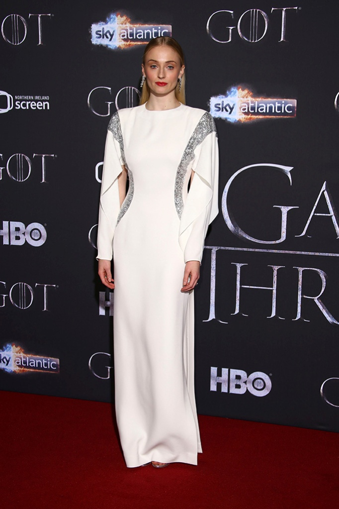 Sophie Turner, louis vuitton, red carpet, celebrity style, poses for photographers at the premiere of season eight of the television show 'Game of Thrones' in Belfast, Northern IrelandGame of Thrones Season 8 Premiere, Belfast, UK - 12 Apr 2019