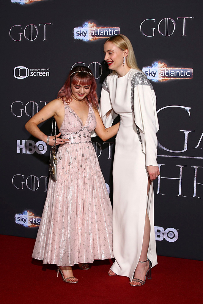 Maisie Williams, and Sophie Turner pose for photographers at the premiere of season eight of the television show 'Game of Thrones' in Belfast, Northern IrelandGame of Thrones Season 8 Premiere, Belfast, UK - 12 Apr 2019