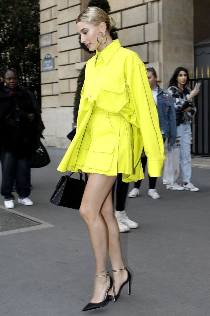 hailey bieber, paris, fashion, week, matthew, adams, dolan, yellow