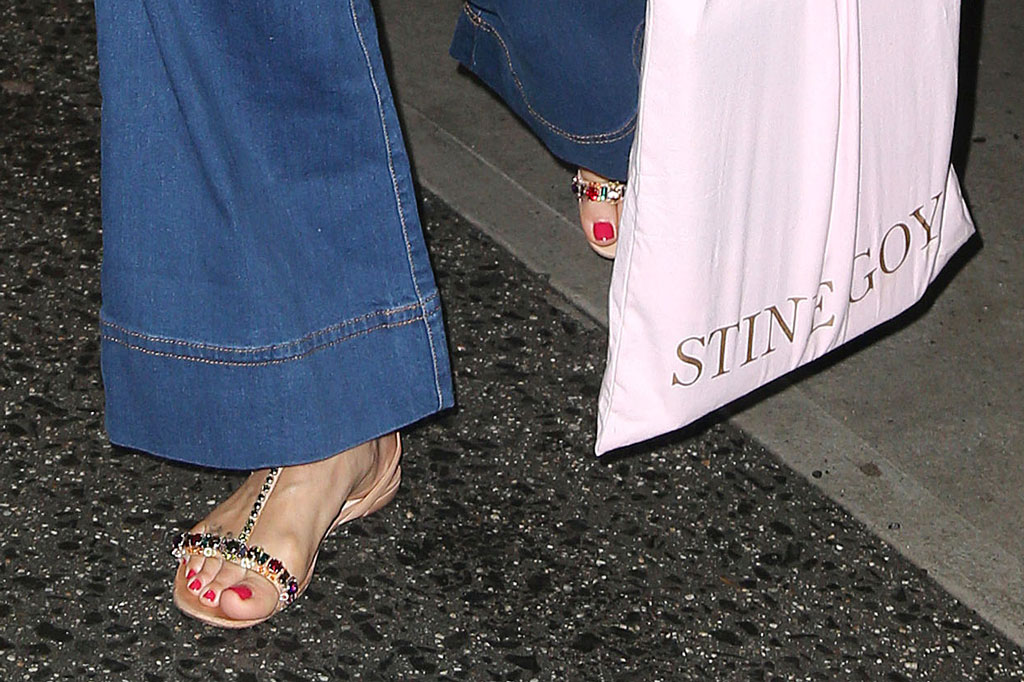 helena christensen, celebrity style, gigi hadid 24th birthday party, jeweled t-strap sandals.