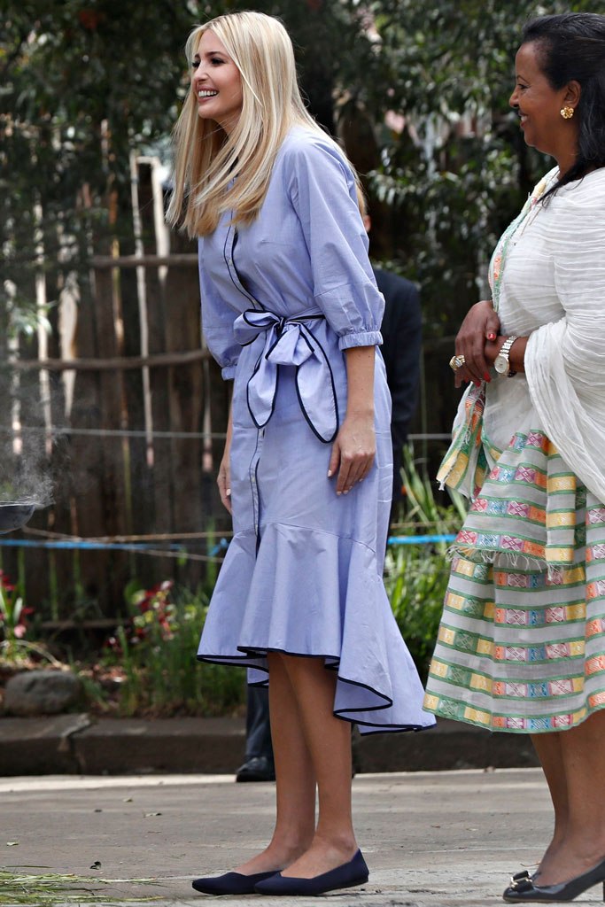 ivanka trump, ethiopia trump, j. crew dress, rothy's flats, celebrity style, first daughter, president donald trump