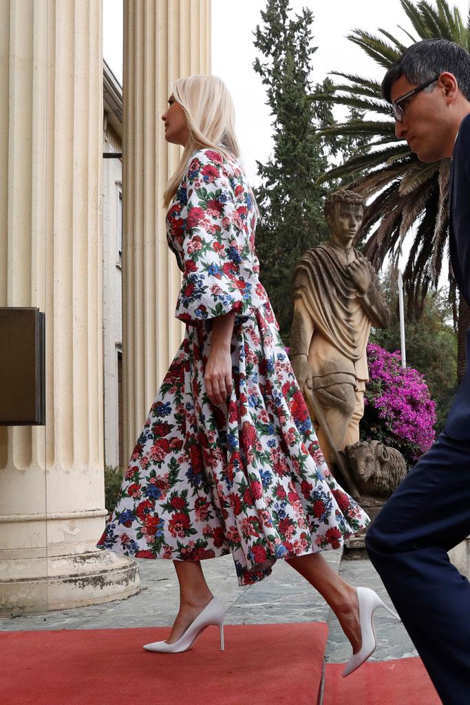 Ivanka Trump, ethiopia, addis abba, presidential palace, first daughter, celebrity style, manolo blahnik bb pumps, emilia wickstead floral dress