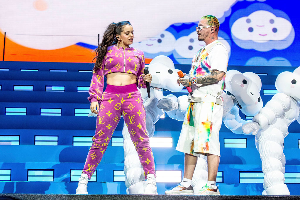 Rosalía, J Balvin, Coachella, April 2019, celebrity style, onstage