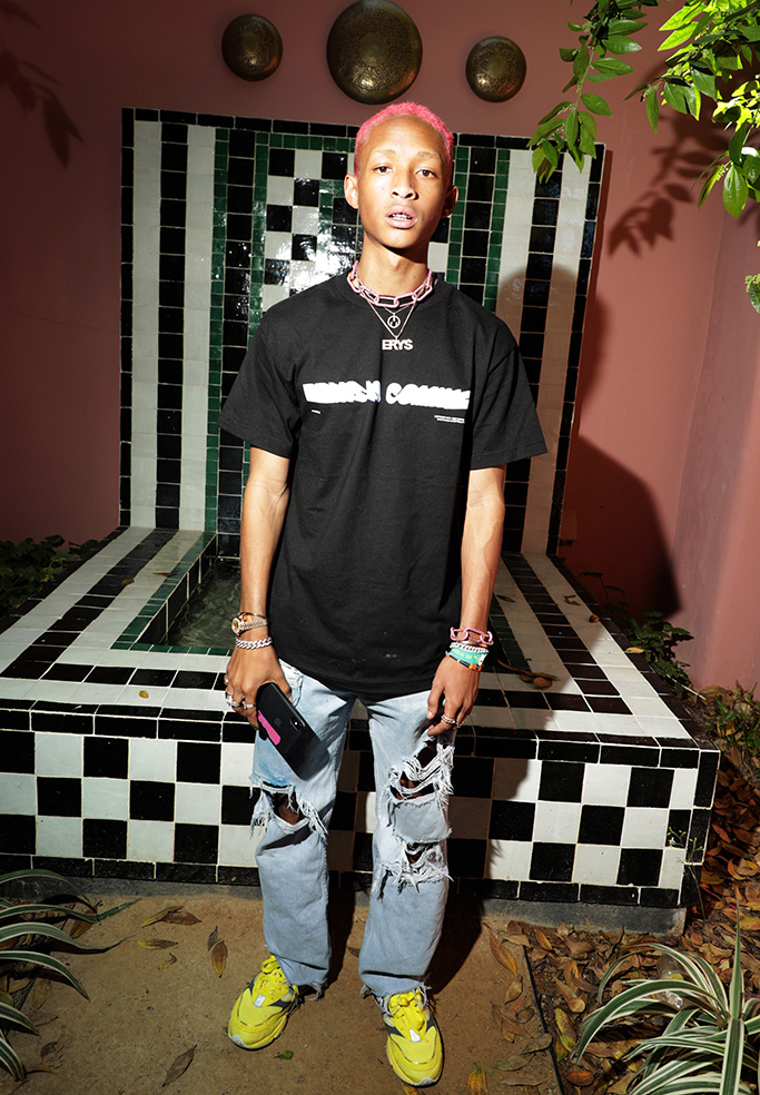 Jaden Smith, celebrity style, new balance sneakers, distressed jeans, celebrity style, Levi's Party in the Desert, Indian Wells, CA, USA - 13 April 2019