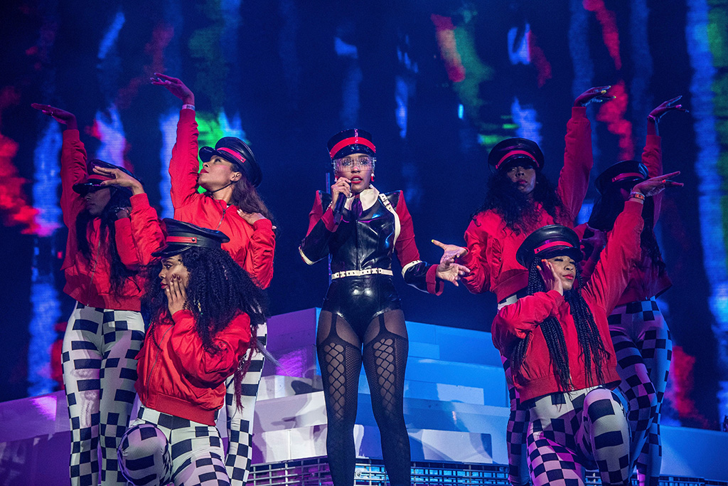 Janelle Monae , dead lotus couture, Ruslan Baginskiy, bodysuit, tights, hat, backup dancers, performs at the Coachella Music & Arts Festival at the Empire Polo Club, in Indio, Calif2019 Coachella Music And Arts Festival - Weekend 1 - Day 1, Indio, USA - 12 Apr 2019