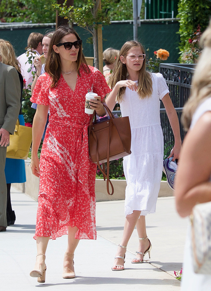 Jennifer Garner, red wrap dress, chloe lauren scalloped pumps, violet affleck, 13 years old, high heels, church services, and Ben Affleck went to church on Easter Sunday with the kids.Pictured: Ref: SPL5081411 210419 NON-EXCLUSIVEPicture by: BRG / SplashNews.comSplash News and PicturesLos Angeles: 310-821-2666New York: 212-619-2666London: 0207 644 7656Milan: 02 4399 8577photodesk@splashnews.comWorld Rights