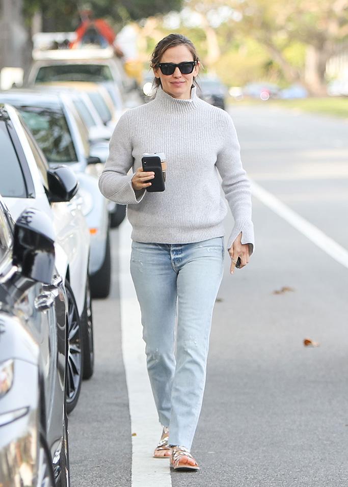 Jennifer Garner, mom jeans, ancient greek sandals, turtleneck, Jennifer Garner out and about, Los Angeles, USA - 26 Mar 2019