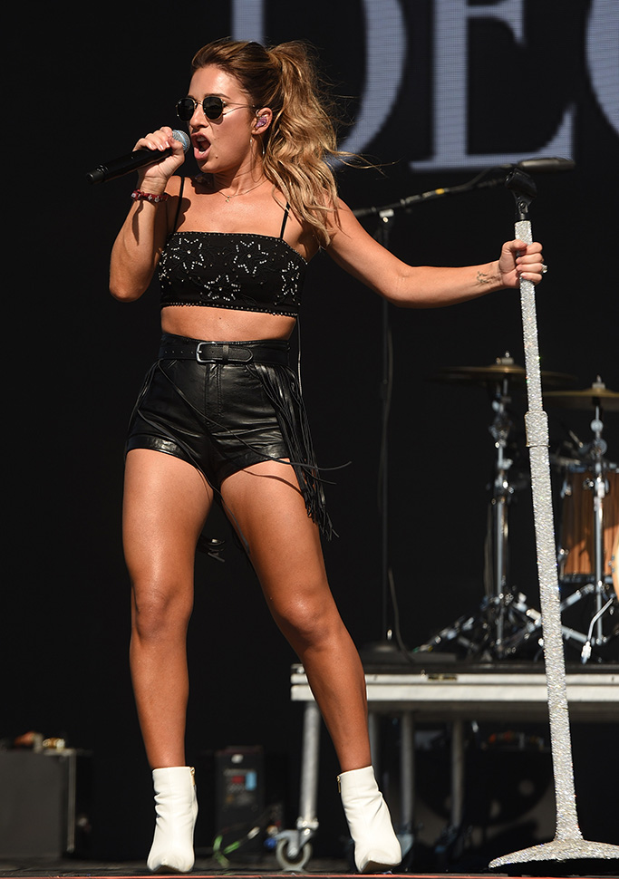 Jessie James Decker, raye white ankle boots, legs, celebrity style, crop top, leather hot pants. Stagecoach Music Festival, Day 2, Indio, California, USA - 27 Apr 2019