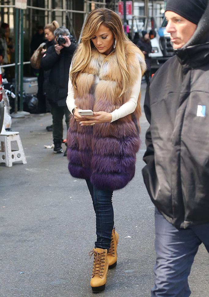 Jennifer Lopez, celebrity style, skinny jeans, platform ankle boots, furry vest, 'Hustlers' on set filming, New York, USA - 01 Apr 2019