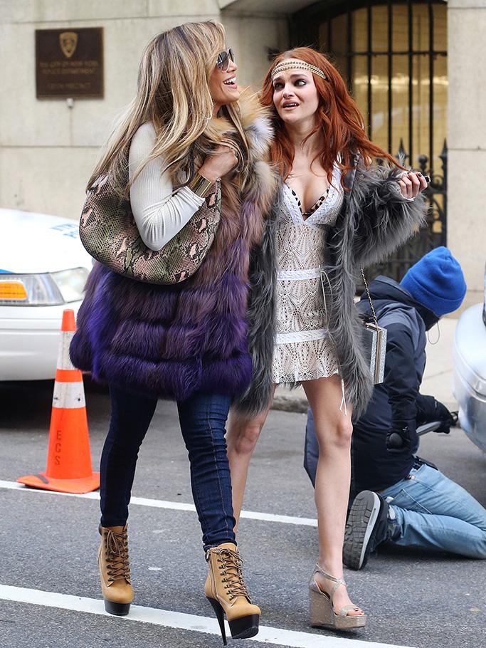 Madeline Brewer, Jennifer Lopez'Hustlers' on set filming, New York, USA - 01 Apr 2019