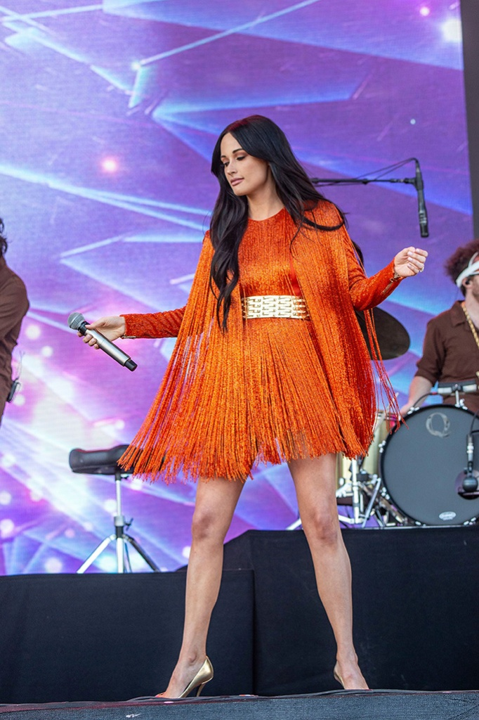 Kacey Musgraves, stella luna, gold pumps, high heels, balmain, fringed minidress, performs at the Coachella Music & Arts Festival at the Empire Polo Club, in Indio, Calif2019 Coachella Music And Arts Festival - Weekend 1 - Day 1, Indio, USA - 12 Apr 2019