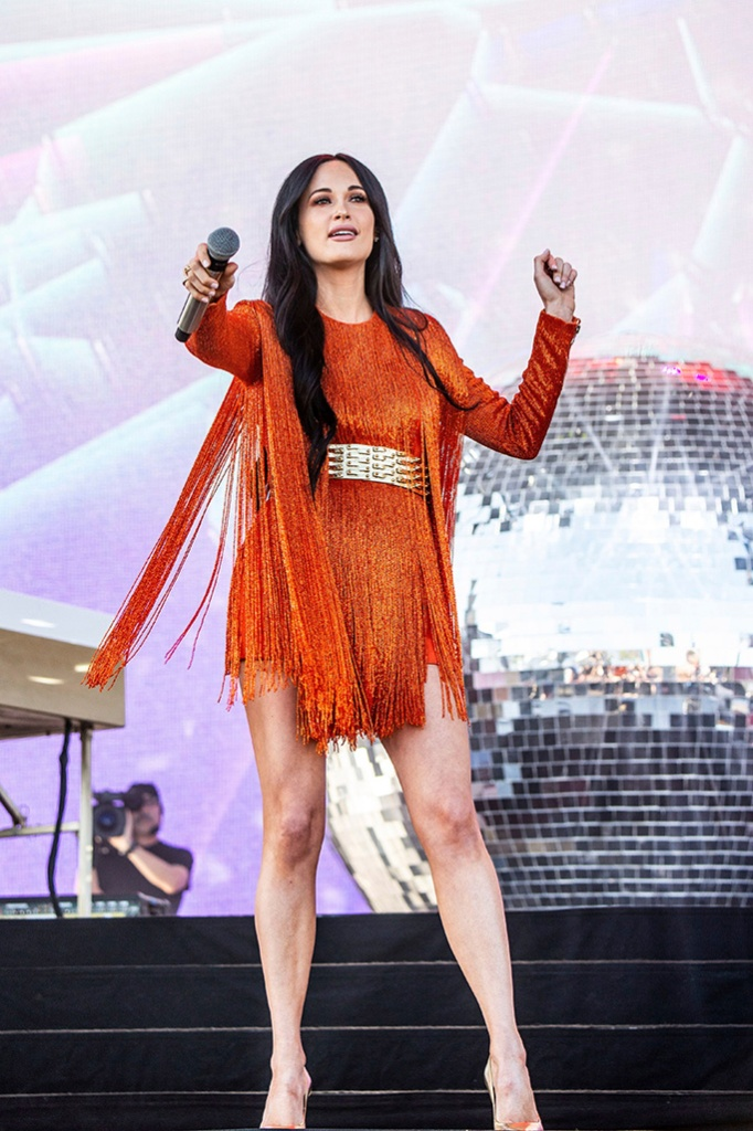 Kacey Musgraves, celebrity style, balmain fringed minidress, gold pumps, stella luna, performs at the Coachella Music & Arts Festival at the Empire Polo Club, in Indio, Calif2019 Coachella Music And Arts Festival - Weekend 1 - Day 1, Indio, USA - 12 Apr 2019