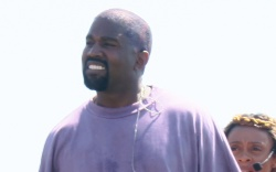 Kanye West interacts with church goers