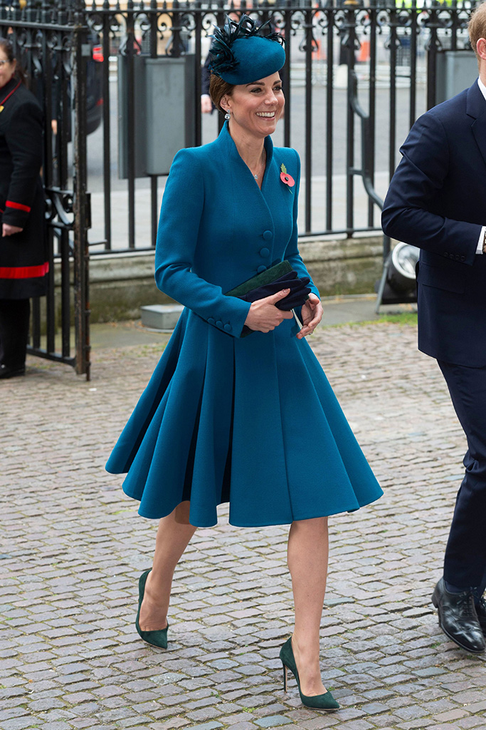 Kate middleton, celebrity royal style, anzac day, london, westminster abbey, kiki mcdonough jewelry, rosie olivia fascinator, catherine walker coat dress, turquoise, emmy london rebecca pumps, Catherine Duchess of Cambridge attends Anzac Day Service held at Westminster Abbey.Anzac Day Service at Westminster Abbey, London, UK - 25 Apr 2019