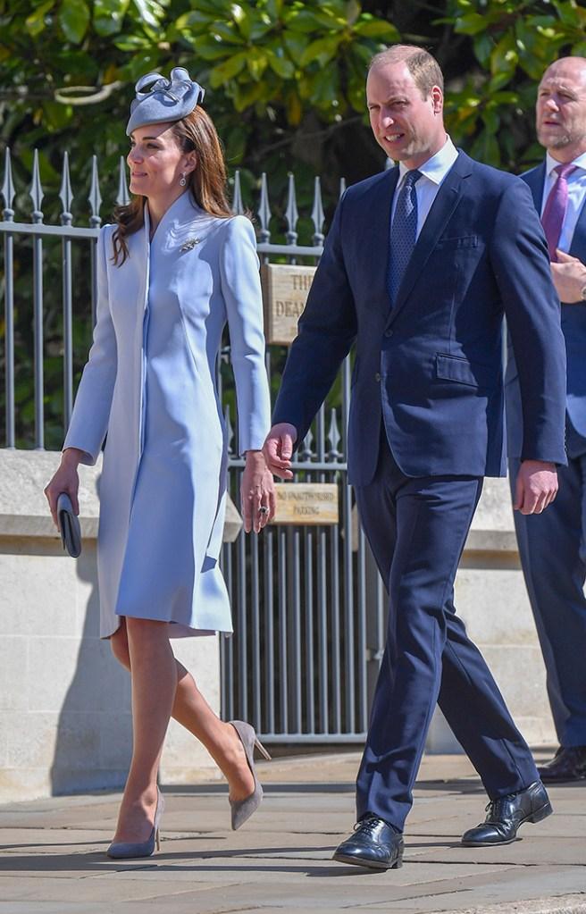 Kate Middleton, emmy london heels, alexander mcqueen coat dress, jane taylor hat, celebrity royal style, Catherine Duchess of Cambridge, Prince WilliamEaster Sunday service, St George's Chapel, Windsor, UK - 21 Apr 2019