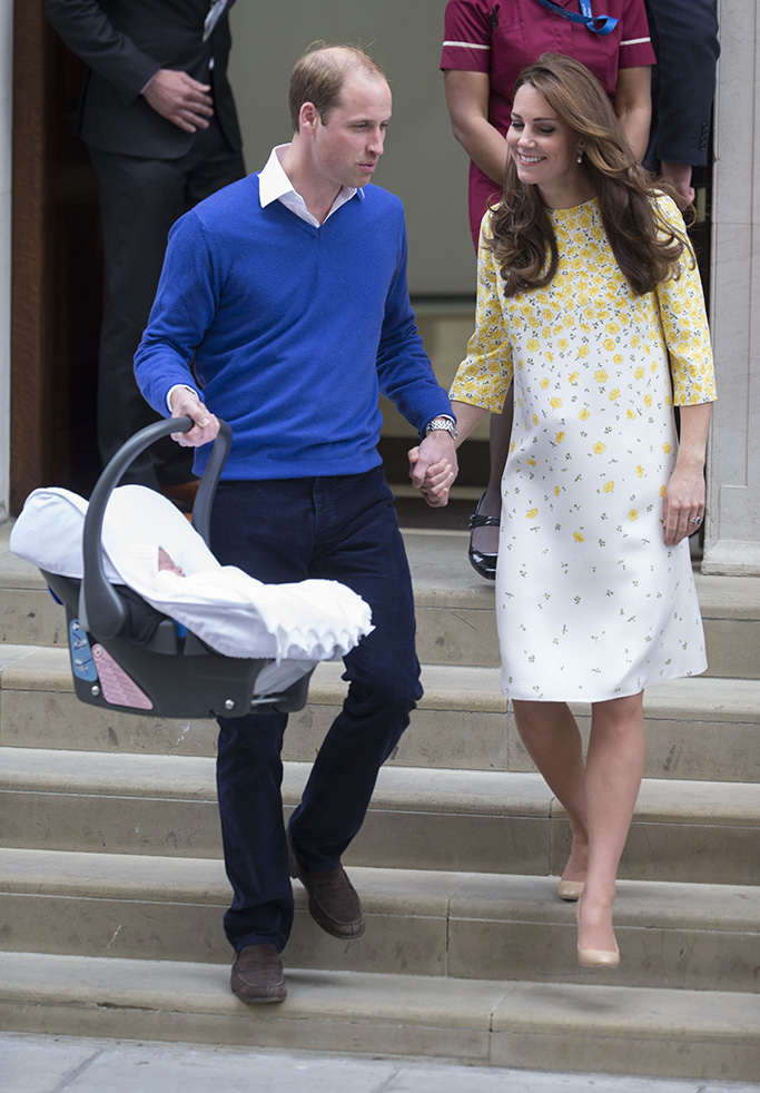 kate middleton, jenny packham, jimmy choo, high heels, Prince William and Catherine Duchess of Cambridge with baby daughter Princess Charlotte of CambridgeRoyal baby girl born at the Lindo Wing at St Mary's Hospital, London, Britain - 02 May 2015