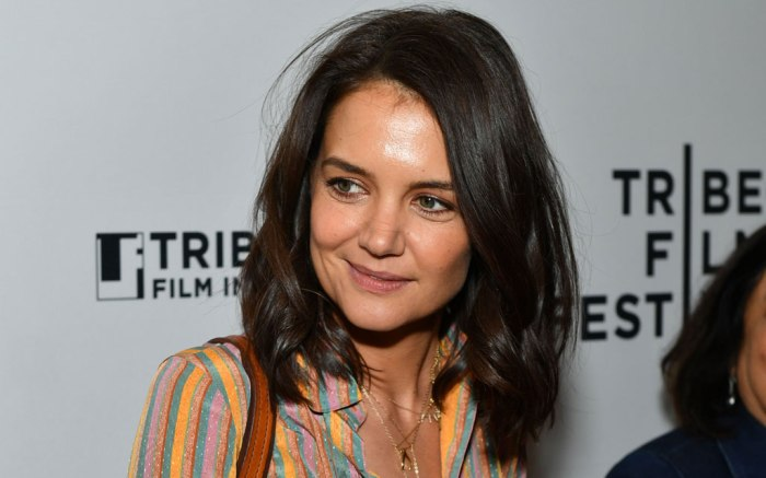 katie holmes, celebrity style, at&t luncheon ahead of tribeca film fest