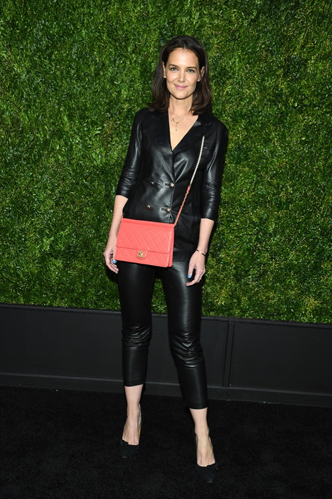 Katie Holmes, chanel dinner, leather pantsuit, salmon quilted purse, suedelike pumps, 14th Annual Tribeca Film Festival Artists Dinner hosted by Chanel, Arrivals, Balthazar restaurant, New York, USA - 29 Apr 2019