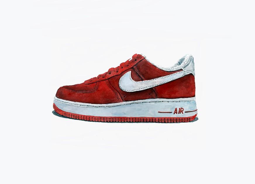 ken solomon, sneakers, sneaker painting, watercolor, nike air force one, nike