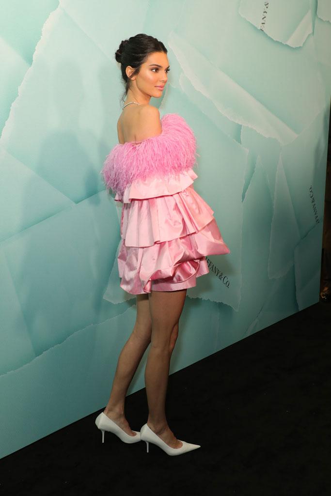 Kendall Jenner, sydney, australia, tiffany & co, celebrity style, red carpet, pink minidress, white heels