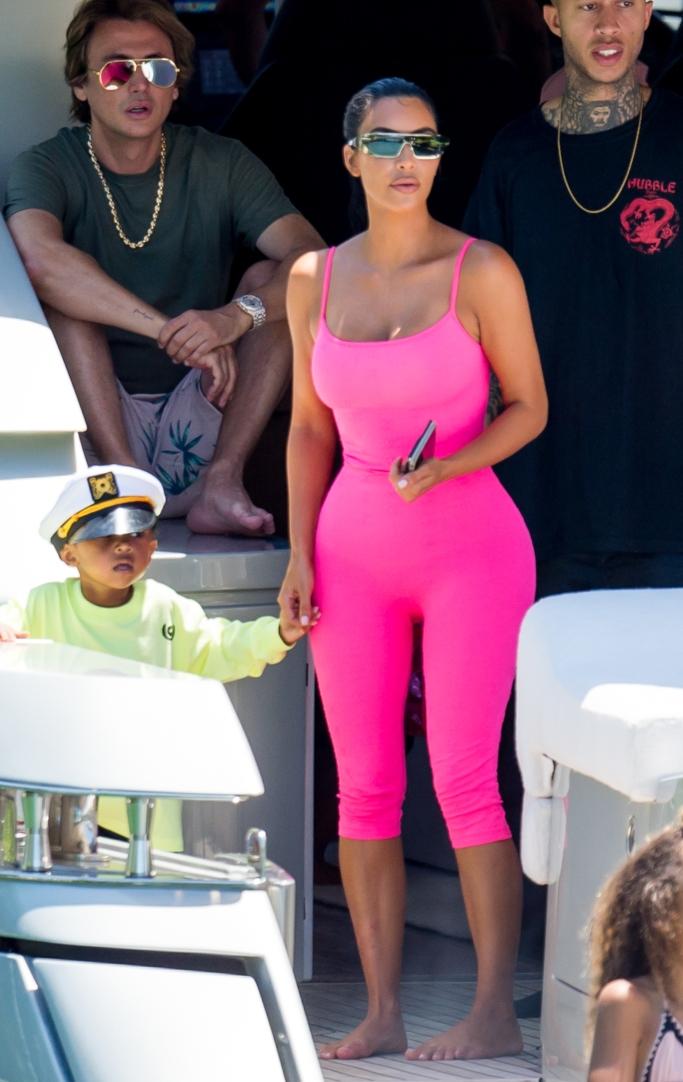 kim kardashian hot pink chanel logo bodysuit
